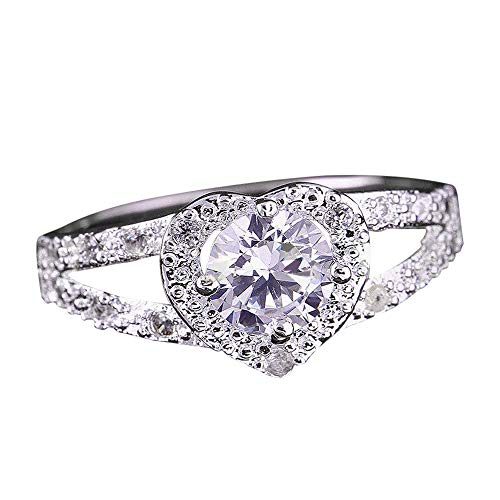 Sunyastor Women's Jewelry Heart Shaped CZ Sterling Silver Wedding Band Ring Engagement Ring Set for Women