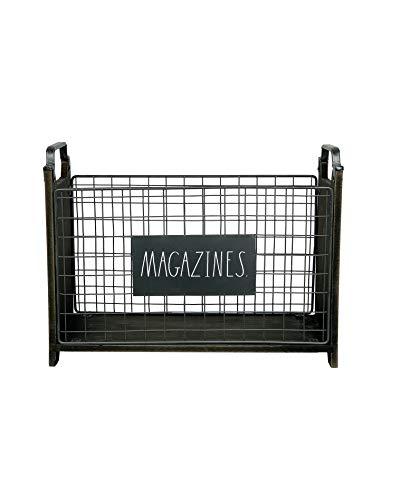 Rae Dunn Magazine Holder - Space Saving Organizer Rack for Books, Files, Folders - Standing Decorative Chic Metal and Wood Storage Container for Home and Office (Magazine Organizer Wood)
