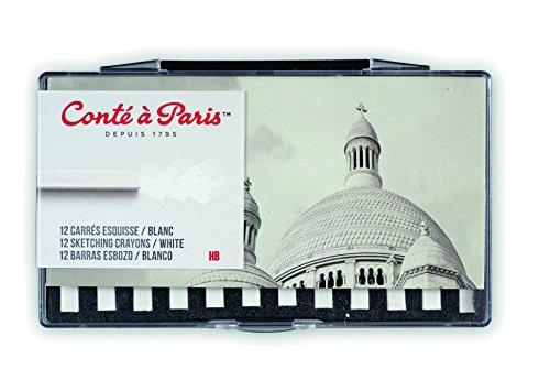 Conté à Paris 12 Count HB Sketching Crayons Set, White ()