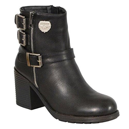 Milwaukee Leather Womens Black Triple Buckle Side Zipper Boots with Platform He - (Womens Side Buckle)