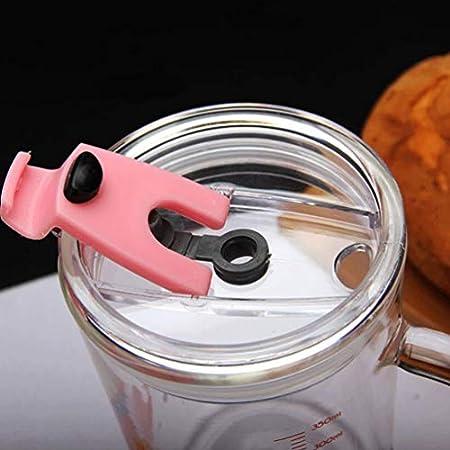Cabilock Vaso de Vidrio con Asa Y Tapa Transparente de Escala Y Vasos de Paja para Niños Vasos para Niños Pequeños con Pajitas (Tortuga Rosa)