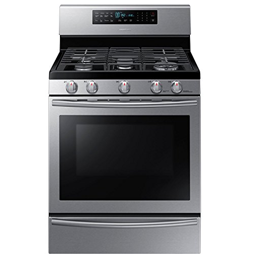 Samsung NX58H5650WS 30 In. Freestanding Gas Range with Wok Grate and 5.8 Cu. Ft. True Convection Oven, Stainless (Self Clean Convection Gas Range)