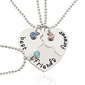 Friendship Pendant Necklace Amazon tinksky silver tone alloy rhinestone best friends tinksky silver tone alloy rhinestone best friends forever necklace engraved puzzle friendship pendant necklaces set christmas gift for friends audiocablefo