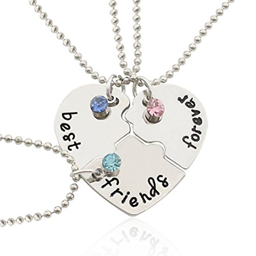 BESTOYARD Friendship Necklace Best Friends Forever Necklace Engraved Puzzle Friendship Pendant Necklaces Set -