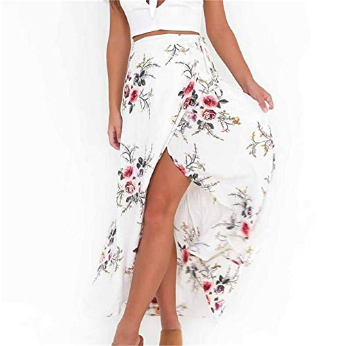 Floral Print Wrap Skirts - Plusnuolee Women's Bohemian Floral Print Tie up Long Maxi Skirt Sexy Split Wrap Skirt (White, S)