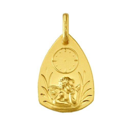 www.diamants-perles.com - Médaille Bapteme - Médaille religieuse - Horloge - Angelot - Or Jaune - 750/1000
