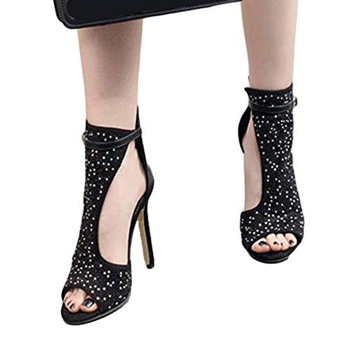 Corta Janly Diamonds Nera Shoes Summer Stivaletti Con Tacco Girls Alto Ladies Sandali Womans Punta qtPtxnwr