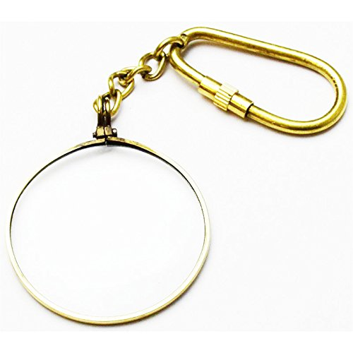 40 Mm Sword (Real Brass 40mm Magnifying Glass Keychain Key Ring)