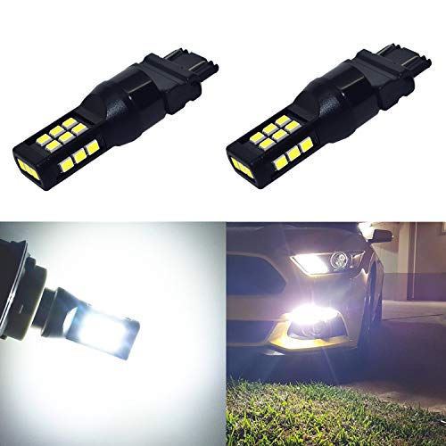 Alla Lighting T25 3121 3157 White LED Bulbs Xtreme Super Bright 3021 3057 3457 3157 LED Bulb 3035 21-SMD 6000K Xenon LED 3157 Bulb for Turn Signal Back-Up Reverse DRL - Bulbs White Hyper