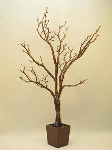 "JoonBloom 24"", 3FT, 4FT, 6FT Plain Tree w/Sq Base or Sq Pot - Bendable Manzanita Tree (Brown, 4FT)"
