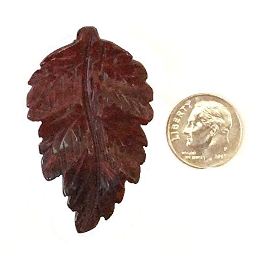 - Poppy Jasper Carved Leaf Pendant 30x48mm Top Side Drill Hole