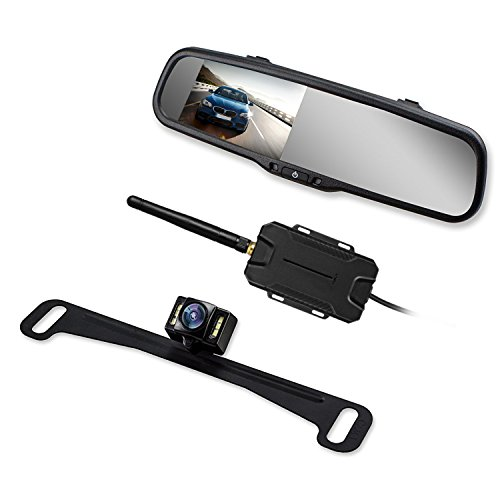 ra Mirror with IP 68 Waterproof Back Up Cam, Super Night Vision Car Reverse Camera License Plate Rear View Camera kit by AUTO VOX ()