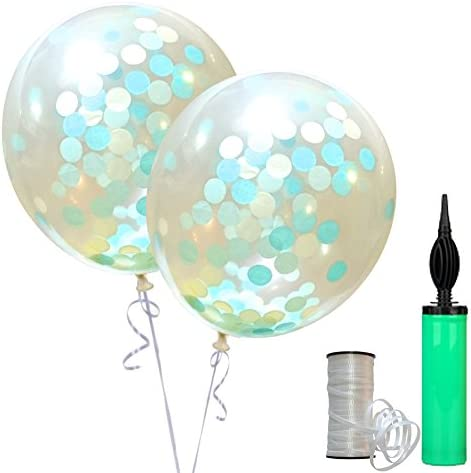 SWEET PARTY【BIGサイズ! 30cm コンフェッティバルーン 2個】紙吹雪入り 風船 誕生日 結婚式 パーティー (エメラルド 丸形)