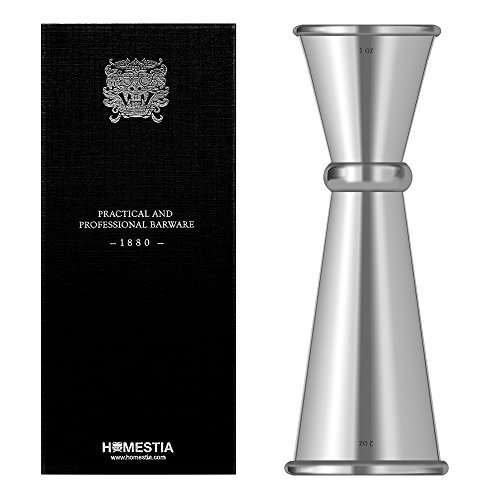 Stainless Steel Bar Measures - Double Cocktail Jigger Japanese Style Stainless Steel Bar Measuring Jigger 1 & 2 oz by Homestia