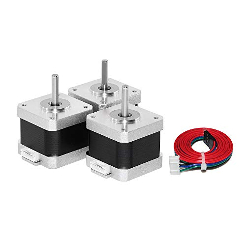 Usongshine Nema 17 Stepper Motor 42 Motor 1.5A (17HS4401) High Torque 42N.cm (60oz.in) 42BYGH 1.8 Degree 38MM 4-Lead with 1m Cable and Connector for DIY CNC 3D Printer (Pack of 3)