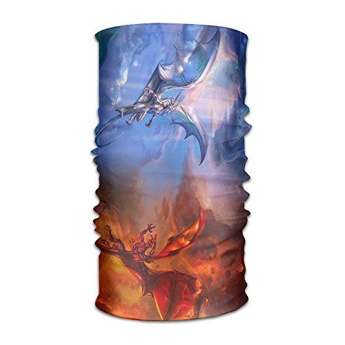 ZQQZ Fantasy Dragon Good Vs Bad Multifunctional Magic Headwear 12-in-1 Men&Women Tube Scarf Facemask Headbands Neck Gaiter Bandana Balaclava Helmet For Outdoor Running Yoga Work - Hat Running Vs Visor