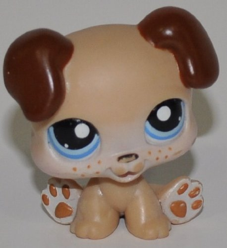 Puppy #143 (Tan, Blue Eyes) - Littlest Pet Shop (Retired) Collector Toy - LPS Collectible Replacement Single Figure - Loose (OOP Out of Package & Print) ()