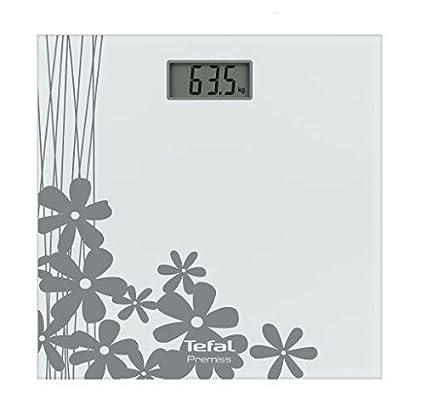 Tefal PP1070V0 Electrónico Plaza Plata, Color Blanco - Báscula de baño (LCD, Plata