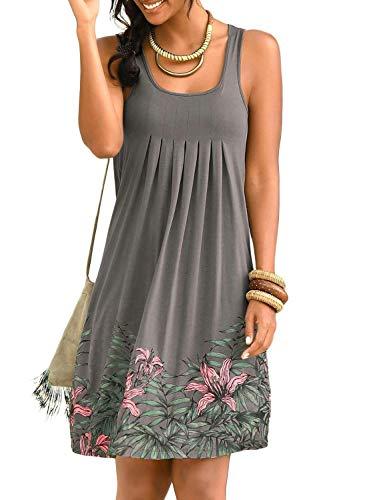 (Happy Sailed Women Casual Dress Summer Sleeveless Pleated Print Beachwear Tank Sundresses Small Gray)