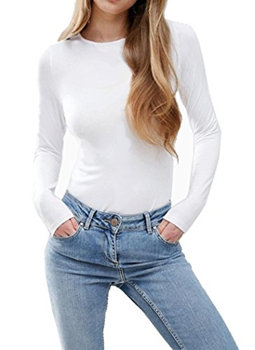 fe0e3fe4ce1 SUNRO Women s Sexy Long Sleeves Round Neck Bodysuits Jumpsuits (White 2
