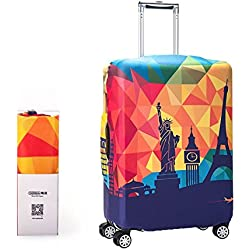 Alpaca Go Washable Print Luggage Cover Travel Suitcase Protective Cover Zipper Suitcase Cover (L(25-28 inch Luggage), The Statue of Liberty)