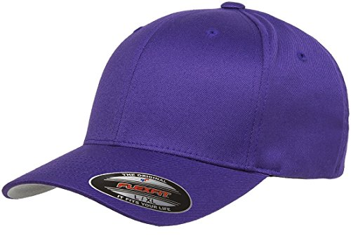 (Original Flexfit Wooly Cotton Twill Cap 6277, Stretch Fit Baseball Cap w/Hat Liner L/XL Purple)