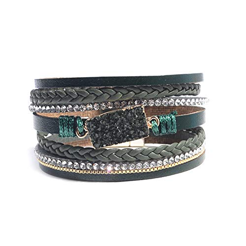 Artilady Shinning wrap Clasp Bangle for Women (Druzy Dark Green)