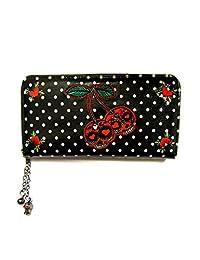 Banned Cherry Skulls Wallet - Black / One Size