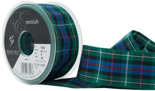 Berisfords Essentials R762240/8 | Rose Woven Tartan Ribbon | 25m x 40mm (Tartan Rose)