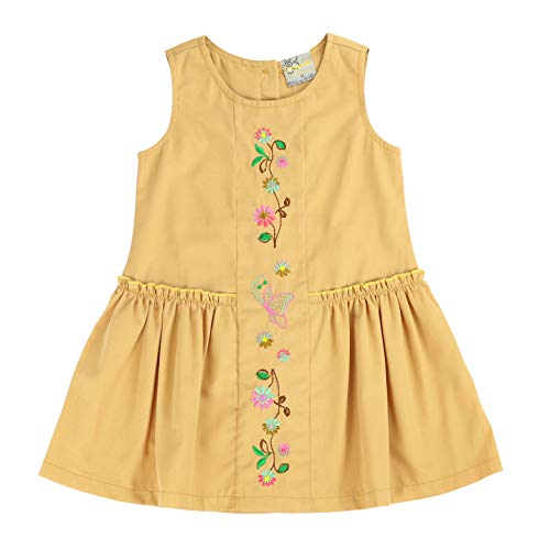 sissymini - Toddler Corduroy Curtsy Light Cotton Dress in Tuscan Sun 2T