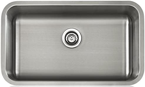 Lenova LS18503 Apogee 18-Gauge Stainless Steel Single Bowl Rectangle Under-Mount Kitchen Sink, 30-1 8 x 18-Inch