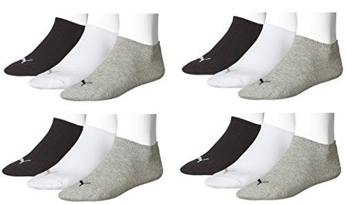 Puma Unisex Sneaker Sportsocken 12 x Paket (39-42, schwarz/weiß/grau)