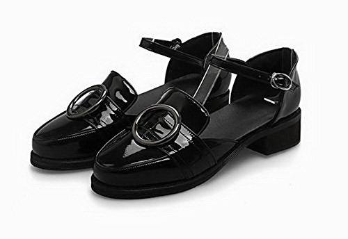 Heels CA18LB05090 Women's Toe Closed Solid Black Buckle Sandals Low WeenFashion wpftqw