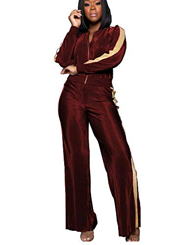 (Women's Sexy 2 Piece Set Tracksuit Sports Joggers Jacket Suit Wine Red L)