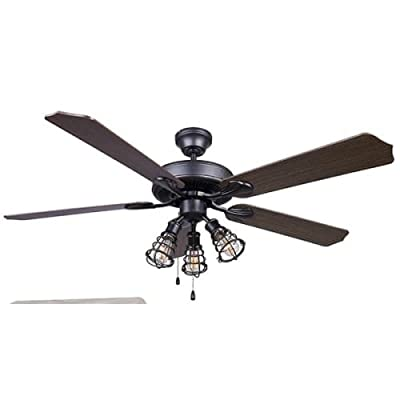 Canarm LTD St. James BPT 52 Alabaster Glass 4 Bulb Light Kit, 52-Inch Ceiling Fan with 5 Blades, White/Bleached Oak Blades