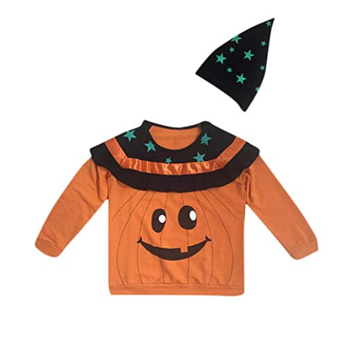Toddler Kids Outfit Set Clearance - vermers Baby Halloween Party Clothes Long Sleeves Stars Print Top+Hat 2Pcs Set(6T, Orange)