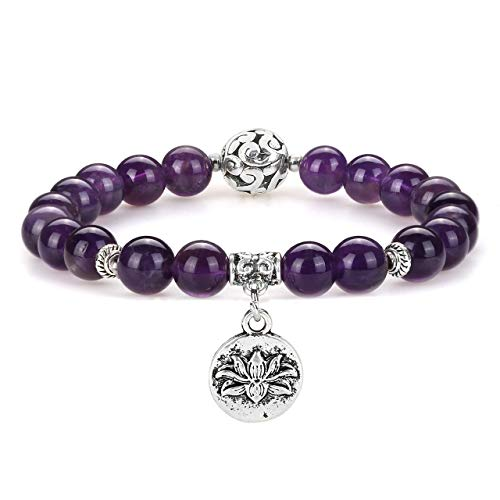 Top Plaza Gemstone Bead Stretch Bracelet Amethyst Healing Crystals Natural Stones Yoga Beaded Chakra Bracelets with Lotus Pendant for Womens Girls (Meaning Of The Word Peace In Greek)
