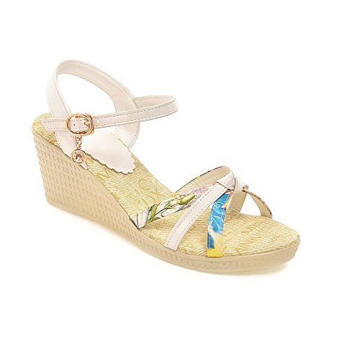 WeenFashion Color Assorted Open Buckle Women's Kitten Sandals PU Toe White Heels Wedges rRwaqrH