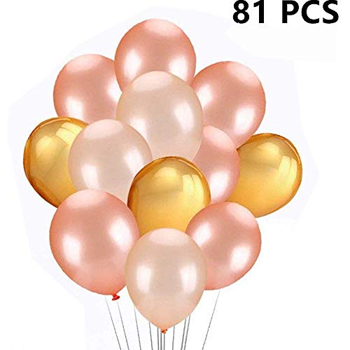 81Pcs 12 Inchs 3.2g Rose Gold & Champagne Gold & Gold Color Latex Party Balloons - Party Decorations For Baby Shower, Engagement, Weddings, Proms | Rose Gold Decorations for Party -