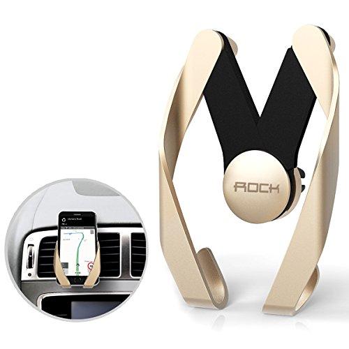 Rock Car Mount Adjustable GPS Bracket Air Vent Phone Holder for Smartphones - Golden