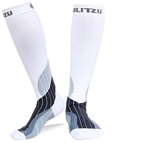Blitzu Compression Socks 15-20mmHg for Men & Women BEST Recovery Performance Stockings for Running, Medical, Athletic, Edema, Diabetic, Varicose Veins, Travel, Pregnancy, Relief Shin Splint L/XL White