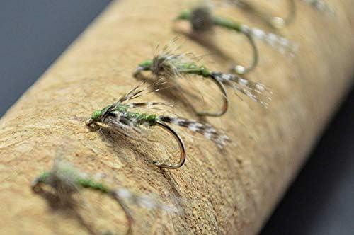 「クリークエッジ」 Premium Collection メイフライニンフ オリーブ (ブルー ウィングド オリーブ ニンフ)12個 完成フライ(バーブド/バーブレス)