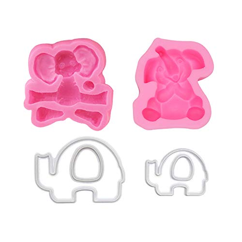2Pcs 3D Baby Elephant Silicone Sugar Cube Molds and 2Pcs Cookie Cutter Make Decorations for Baby Shower Party Cake Decorated Chocolate Cookies Candy Made