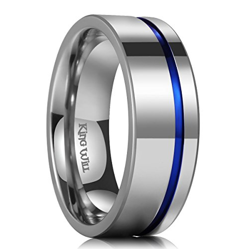 King Will Loop 8mm Thin Blue Groove Silver Titanium Wedding Ring Band Pipe Cut for Men and Women - Band Titanium Groove Wedding Ring