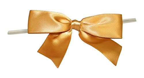 Reliant Ribbon Satin Twist Tie Bows - Large Ribbon, 7/8 Inch X 100 Pieces, Old Gold ()