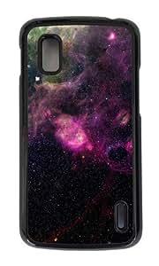 Google Nexus 4 Case,MOKSHOP Adorable space purple nebula Hard Case Protective Shell Cell Phone Cover For Google Nexus 4 - PC Black