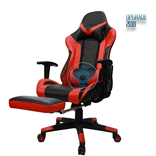 Insoria Gaming Chair Ergonomic High-Back Racing Chair Pu Leather Bucket Seat,Computer Swivel Office Chair Headrest and Lumbar Massage Support Executive Desk Chair with Footrest (Red)