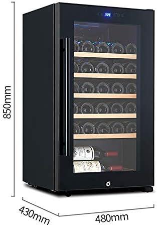 VIY Nevera vinos vinoteca de Botellas 34 Botellas Filtro Puerta Cristal Reversible Anti-UV Compresor Iluminación LED