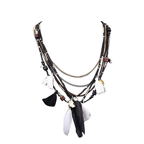 RINKOUa Ethnic Pendant Bohemian Feathers Necklaces Chain Multi-Color African Beads Strand Multi Layers Tribal Bib Tassel Necklace Pendants (Black)