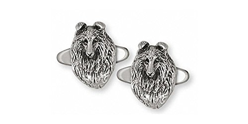 Collie Jewelry Sterling Silver Collie Cufflinks Handmade Dog Jewelry COL6-CL